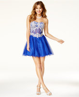 Blondie Nites Juniors' Embellished Corset Fit & Flare Dress