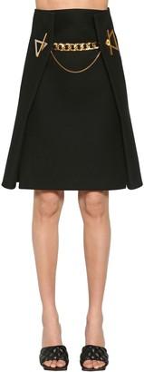 Bottega Veneta Cashmere Twill Midi Skirt W/gold Chain