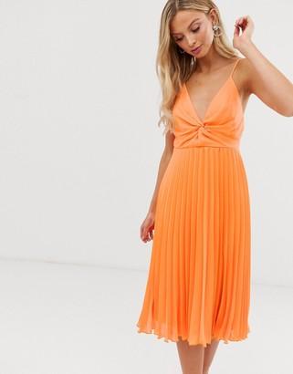 Asos Design DESIGN cami midi dress with pleat skirt and knot bodice-Orange