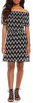 Jones New York Off-The-Shoulder Chevron Stripe Drawstring Waist Dress