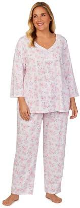 Aria Plus Size 3/4 Sleeve Pajama Shirt & Pajama Pants Set