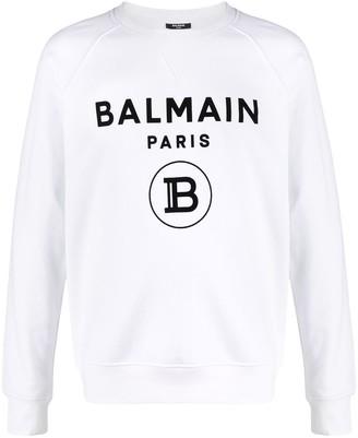 Balmain Flocked-Logo Raglan Sweatshirt
