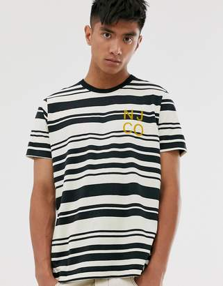 Nudie Jeans Roy barcode stripe t-shirt in white