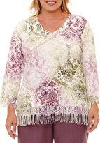 Alfred Dunner Palm Desert 3/4 Sleeve V Neck Pullover Sweater-Plus