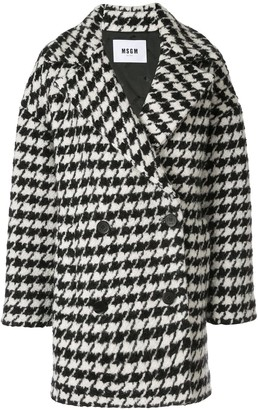 MSGM houndstooth pea coat