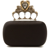 Alexander McQueen Crystal-embellished heart satin knuckle clutch