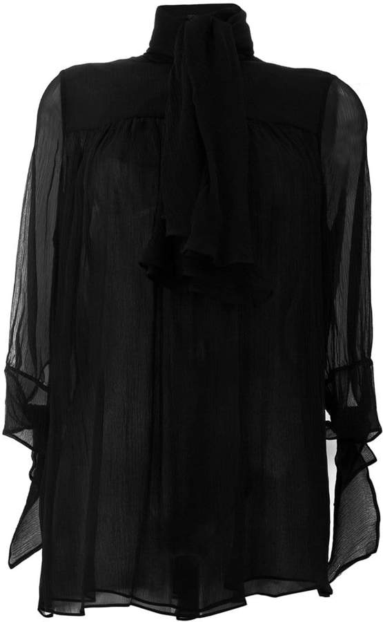Alexander McQueen pussy bow sheer blouse