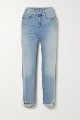 Denimist Pierce Cropped Distressed High-rise Straight-leg Jeans - Light denim