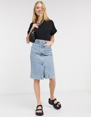 Selected story denim midi skirt in blue