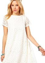 Sunmy Women's Plus Size Dress Summer Loose Short-Sleeved Lace Skirt 3XL