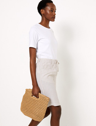 Marks and Spencer Linen Striped Mini A-Line Skirt