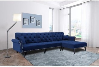 Mercer41 Ramires 115'' Reversible Sleeper Sofa & Chaise with Ottoman Fabric: Navy Blue