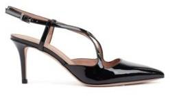 HUGO BOSS Cross Over Slingback Pumps In Patent Calf Leather - Black