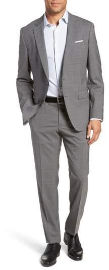 BOSS Huge/Genius Trim Fit Plaid Wool Suit