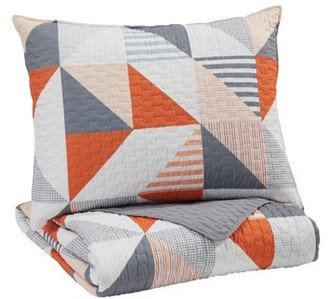 Signature Design by Ashley Layne Gray/Orange Twin Coverlet Set
