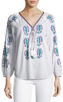 Figue Rosette Embroidered Tassel-Tie Top