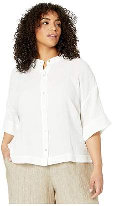 Eileen Fisher Plus Size Organic Cotton Lofty Gauze Mandarin Collar Shirt (White) Women's Clothing