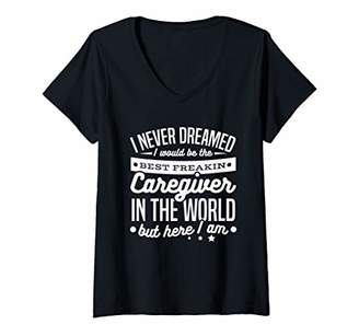 Womens Best Caregiver in the World Caring for the Sick V-Neck T-Shirt