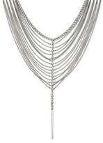 """Gen Tribe Women's Gentribe Bib Necklace With Curbed Chain And Drop Casting - Silver (14""""+3"""")"""