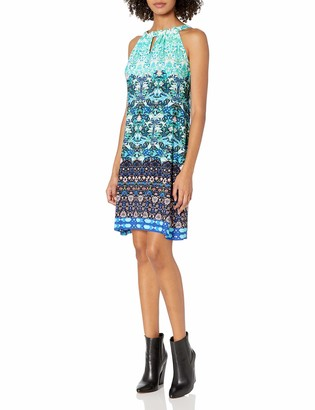 Taylor Dresses Women's Jersey Mixed Print Shift with Tie at Neck