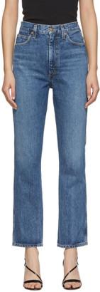 A Gold E Agolde AGOLDE Blue Pinch Waist High Rise Kick Jeans