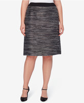 Tahari ASL Plus Size Metallic Bouclé A-Line Skirt