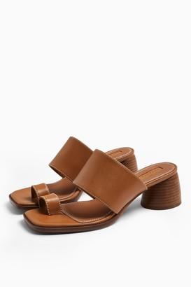 Topshop VILLAGE Tan Leather Toe Loop Sandals