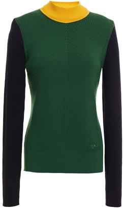 Tory Burch Color-block Ribbed Merino Wool-blend Sweater