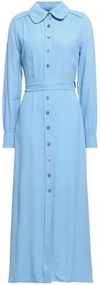 Goat Geneva Belted Crepe Midi Shirt Dress