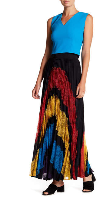 Alice + Olivia Romona Lace Pleated Maxi Skirt