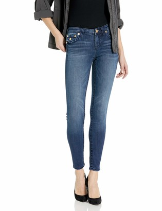 True Religion Women's Halle Big T Mid Rise Skinny Leg fit Jean with Back Flap Pockets
