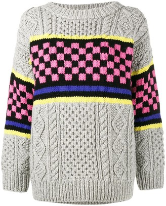 Ashley Williams Chunky Checkerboard Knitted Jumper