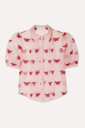 Fleur Du Mal Pintucked Embroidered Silk And Cotton-blend Organza Shirt - Blush