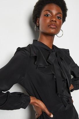Karen Millen Long Ruffle Silk Shirt Dress