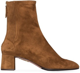 Aquazzura camel brown Saint Honore 50 suede ankle boots