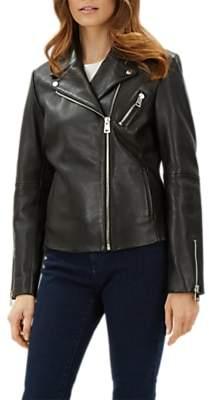 Jaeger Leather Biker Jacket, Black
