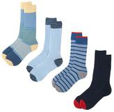 Lucky Brand Stripes Crew Cut Socks - Pack of 4