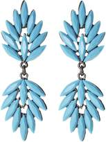 Amrita Singh Beaded Statement Drop Earrings Gunmetal w/Stone