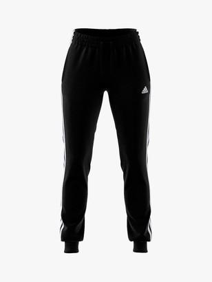 adidas Essentials Single Jersey 3-Stripes Joggers, Black/White