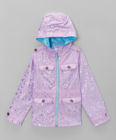 Hawke & Co Lilac Foil Star Zip-Up Jacket - Girls