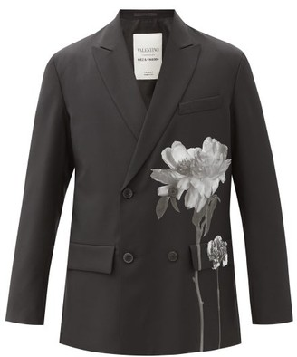 Valentino Flowersity Wool-blend Double-breasted Jacket - Black White