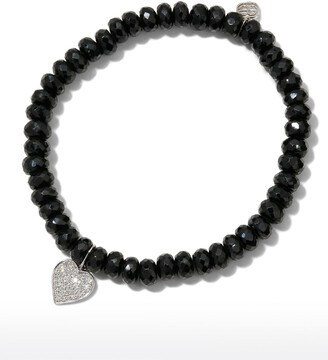 Sydney Evan 14k White Gold Diamond Heart & Spinel Bracelet