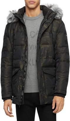 Calvin Klein Faux Fur-Trim Hooded Camo Puffer Jacket