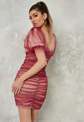 Missguided Plum Puff Sleeve Ruched Mesh Mini Dress