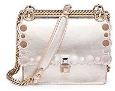 Fendi Women's Mini Kan I Scallop Metallic Leather Shoulder Bag