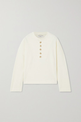 Madewell Hanoi Button-detailed Ribbed Cotton Top - Cream