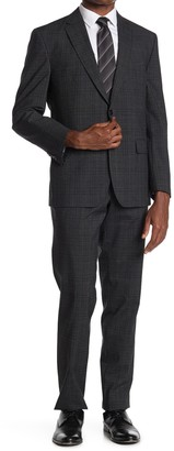 Ted Baker Grey Plaid Two Button Notch Lapel Wool Suit