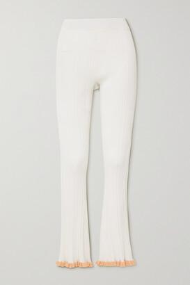 HOLZWEILER Dahlia Ruffled Ribbed-knit Flared Pants