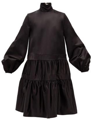 Rochas Balloon-sleeve Gathered Duchess-satin Dress - Black