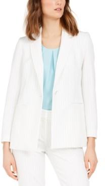 Nine West Pinstriped Single-Button Jacket